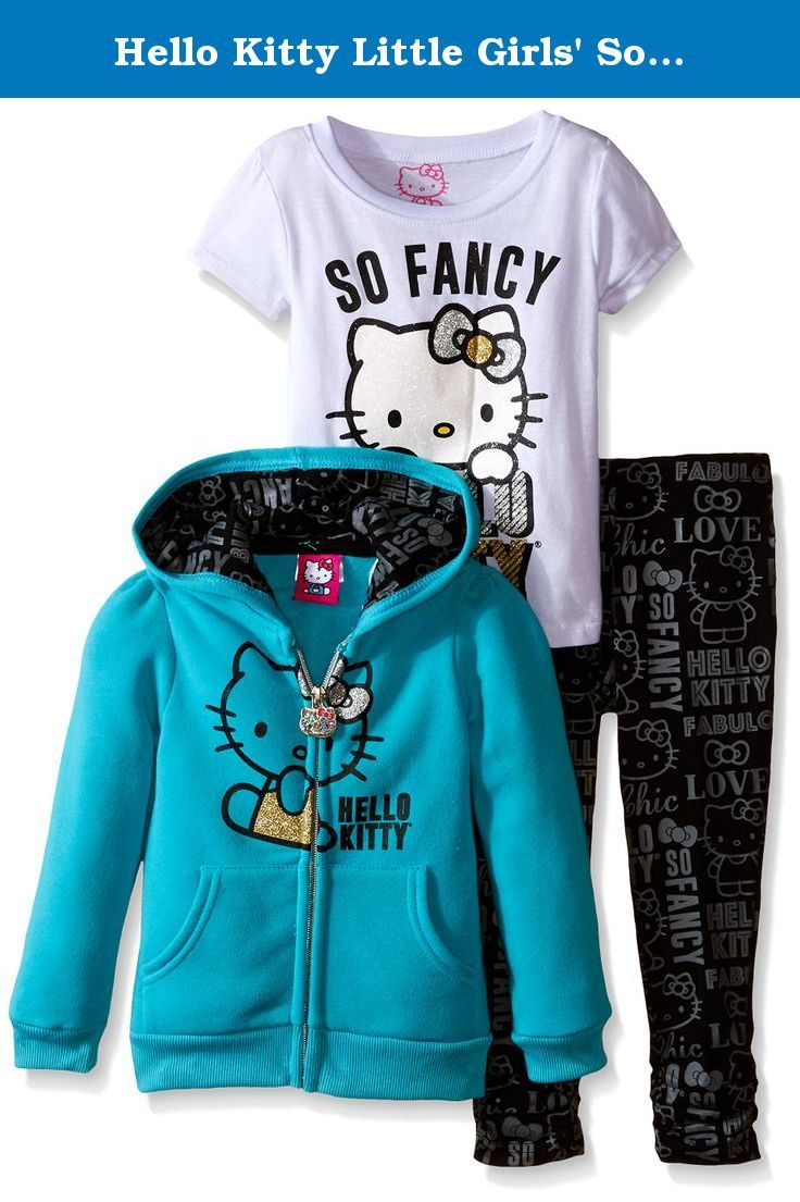 0669a6f50 Hello Kitty Little Girls' So Fancy 3PC Hoodie Legging Set, Sea Glass, 2T.  So fancy 3 piece hoodie legging set.