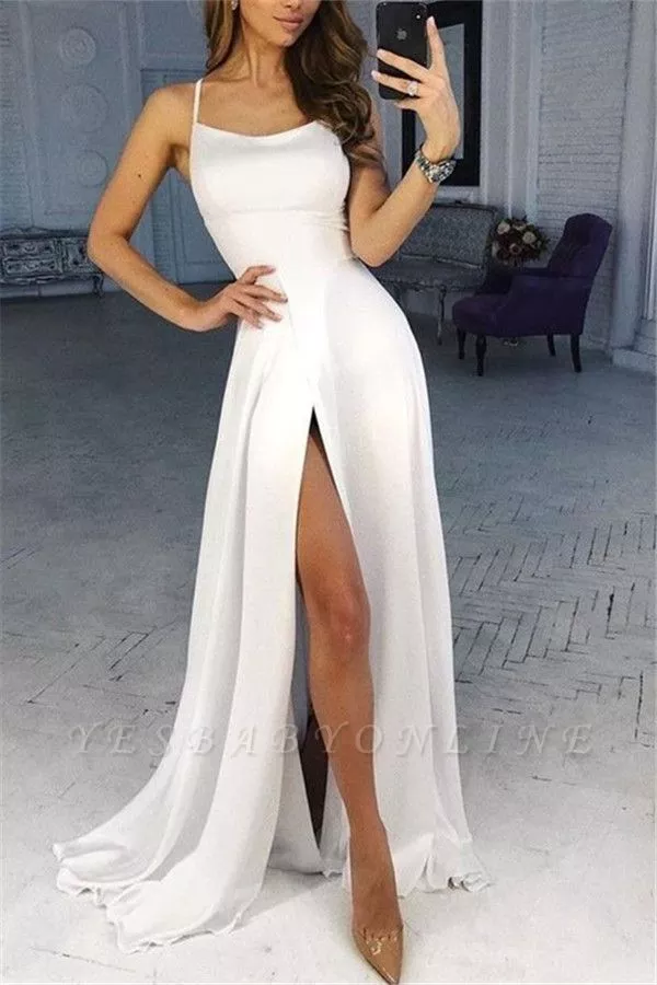 A-line Spaghetti Straps Satin Prom Dresses with a Leg Slit