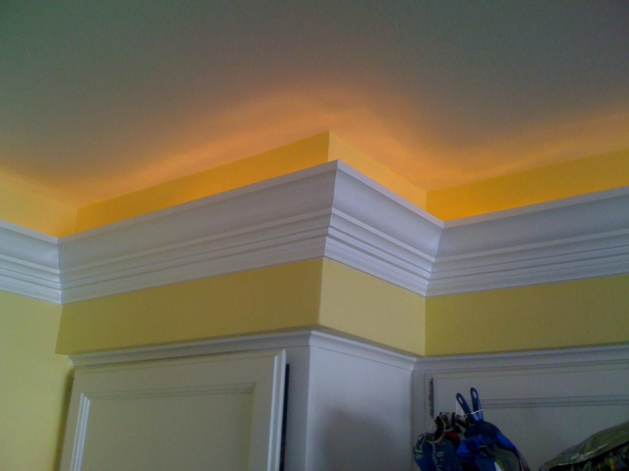 backlit crown molding corner crown cut away to make way for