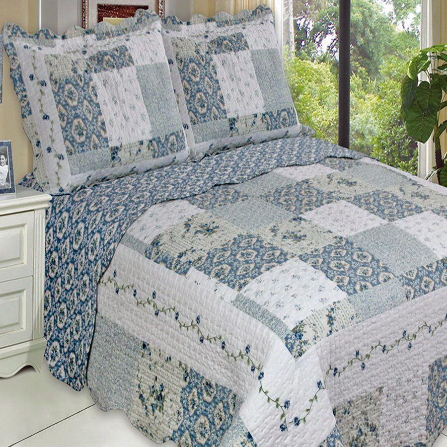 Bellas Rose Cottage Via Jennifer Beaton: COUNTRY Cottage BLUE Floral PATCHWORK Lightweight Quilt
