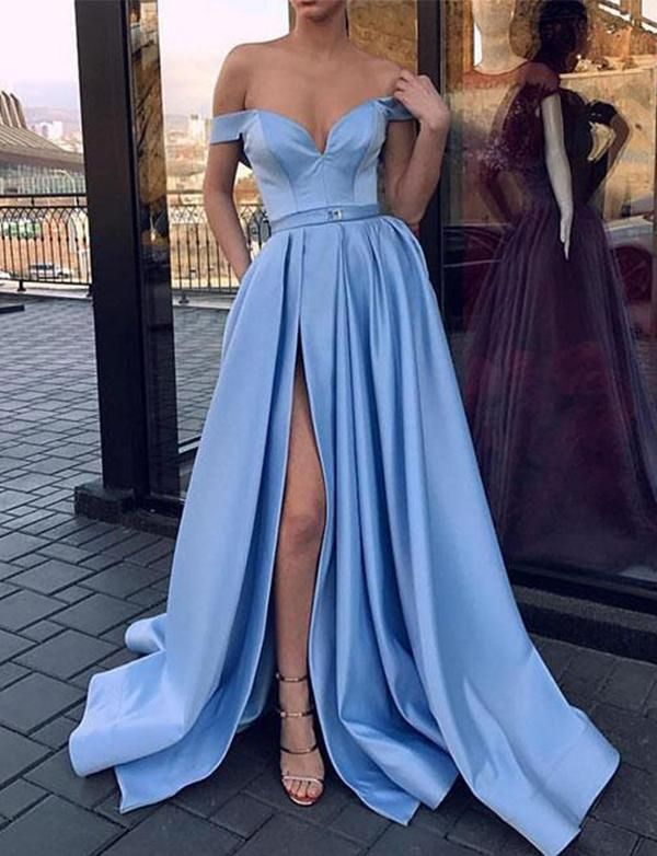 a8a998bfec0 Sky Blue Off the Shoulder Prom Dress Evening Gown with Sexy High ...