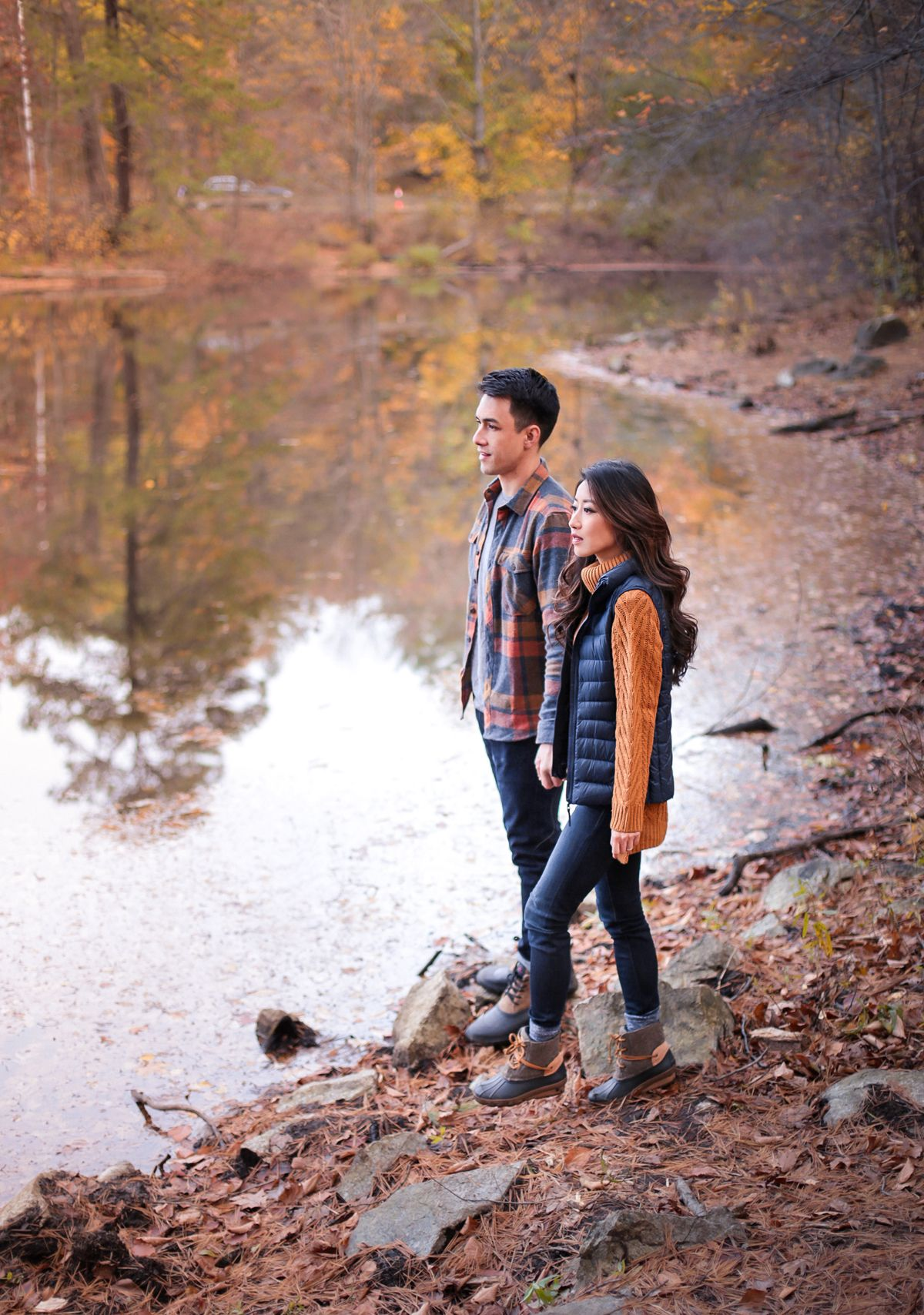His Hers Fall Style Warm Layers Waterproof Boots Extra Petite Fall Family Photo Outfits Engagement Picture Outfits Family Photo Outfits