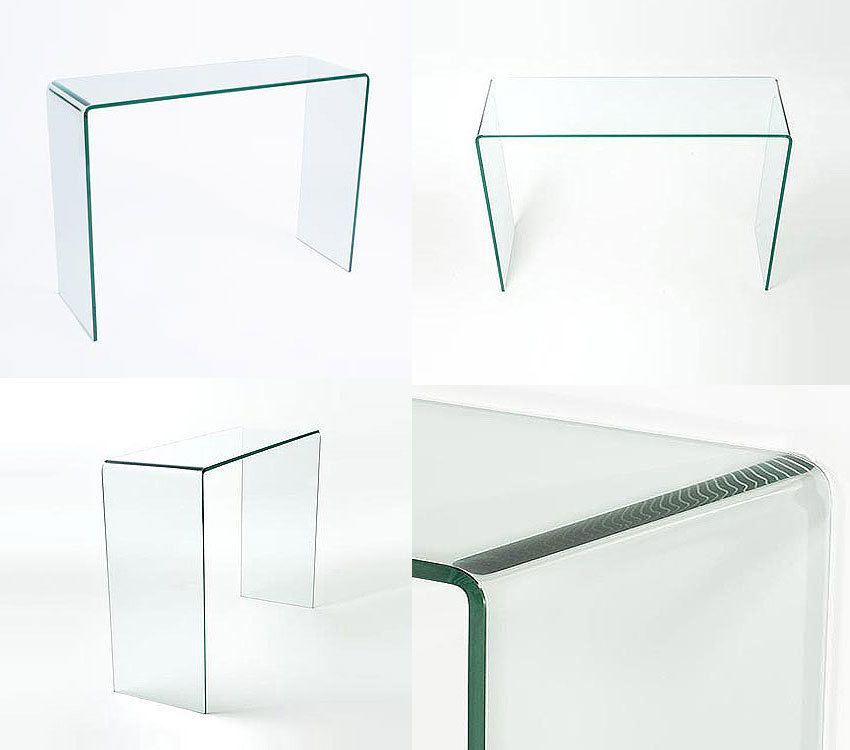Glass console table large clear living dining bent end smooth edge