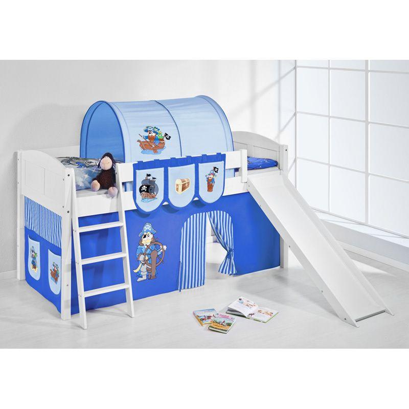 Hochbett Spielbett hochbett spielbett ida pirat blau mit rutsche und vorhang weiß
