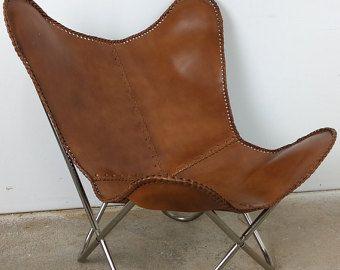 Butterfly Chair Echt Leder Stuhl Relax Sessel Braun VINTAGE Design Loft  Lounge