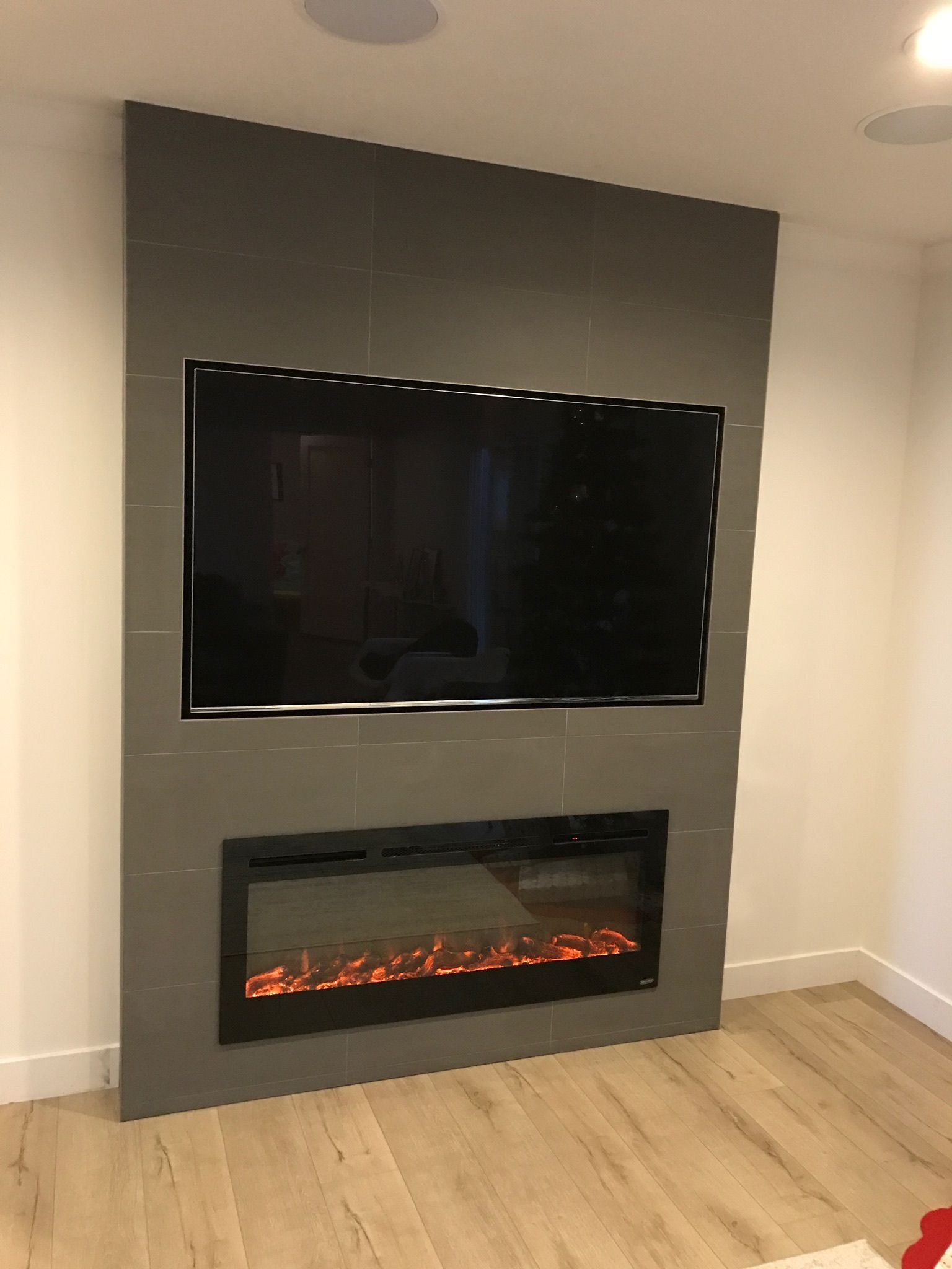 Tiled Fireplace With Recessed Tv Living Rooms In 2019