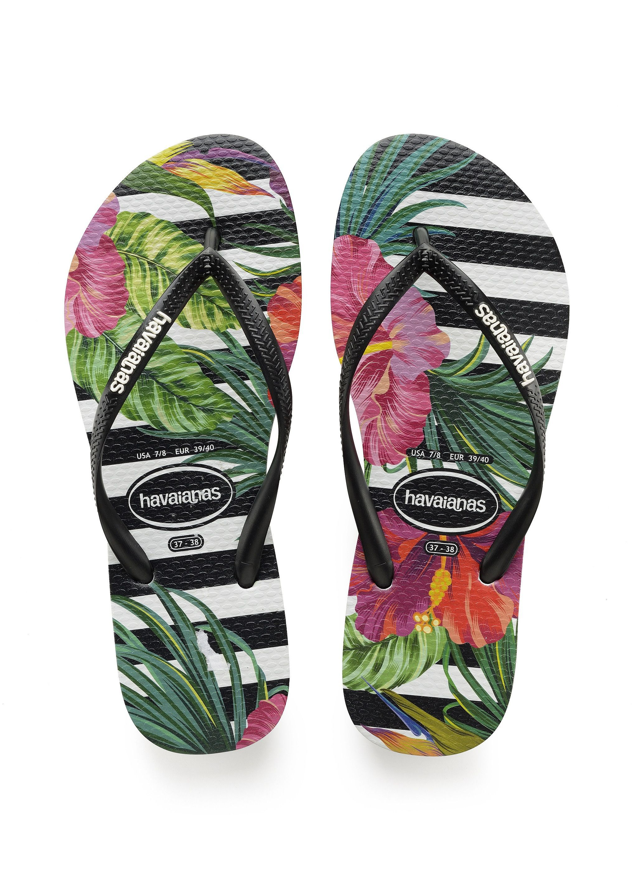 ca639347839edd Havaianas Slim Tropical Floral Sandal Black White Price From  28