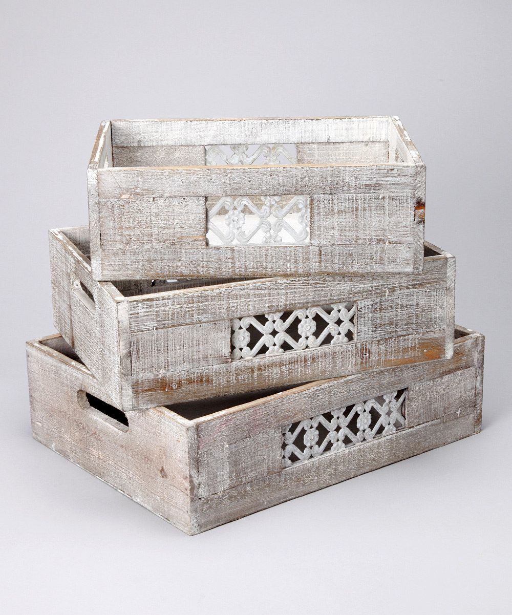 Latticework Wood Crate Set. $47.99