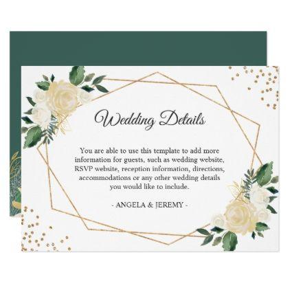 Green Ivory Gold Floral Wedding Reception Details Card - wedding - invitation information template