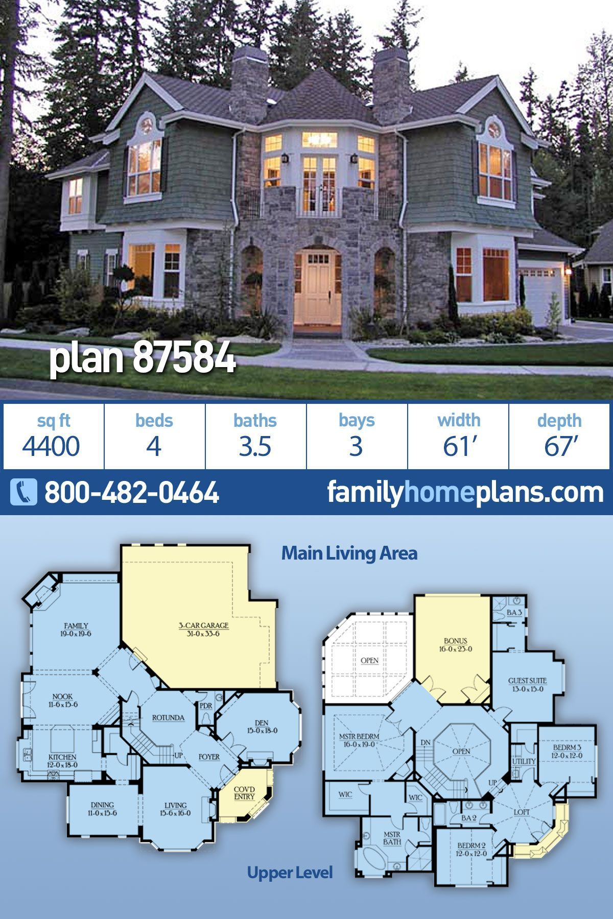 Traditional Luxury House Plan 87584 Has 4400 Sq Ft 4 Bedrooms 3 5 Bathrooms And A 3 Bay Garag In 2020 Large House Plans Craftsman House Plans Beach House Flooring