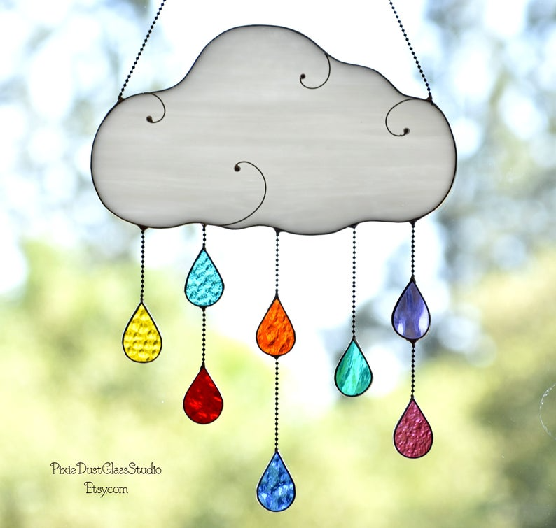 Stained Glass Rain Cloud Suncatcher With Rainbow Colored Etsy Rain Clouds Stained Glass Christmas Clouds