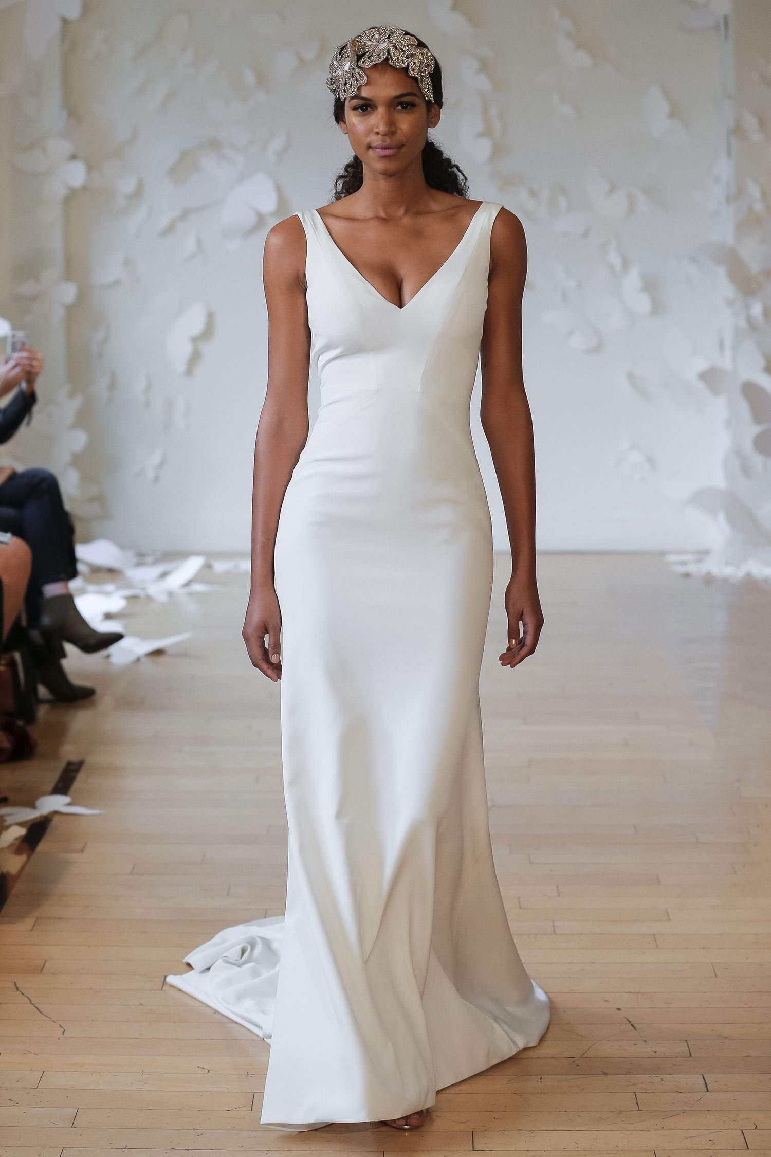 f49e35b287e Carol Hannah Ilia from the Monarch Collection - Deep v wedding gown of silk  crepe with fitted trumpet skirt