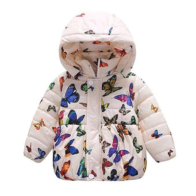 098986e9f Forart Baby Girls Winter Warm Coat Butterfly Pattern Hoodie Down ...