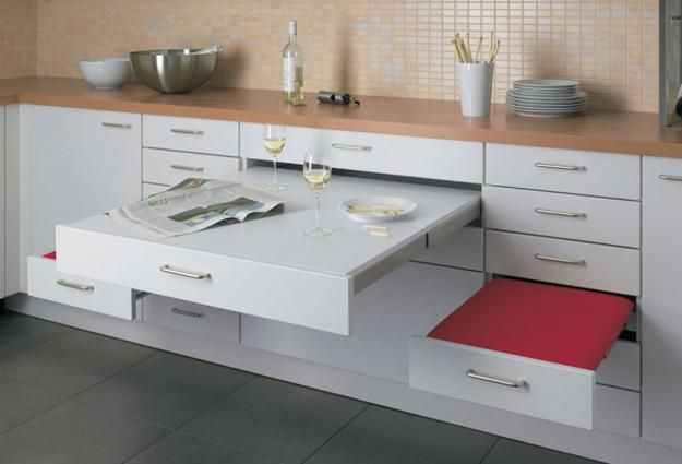 25 Space Saving Small Kitchens And Color Design Ideas For Small Spaces Small Apartment Kitchen Small Apartment Kitchen Table Kitchen Furniture Design