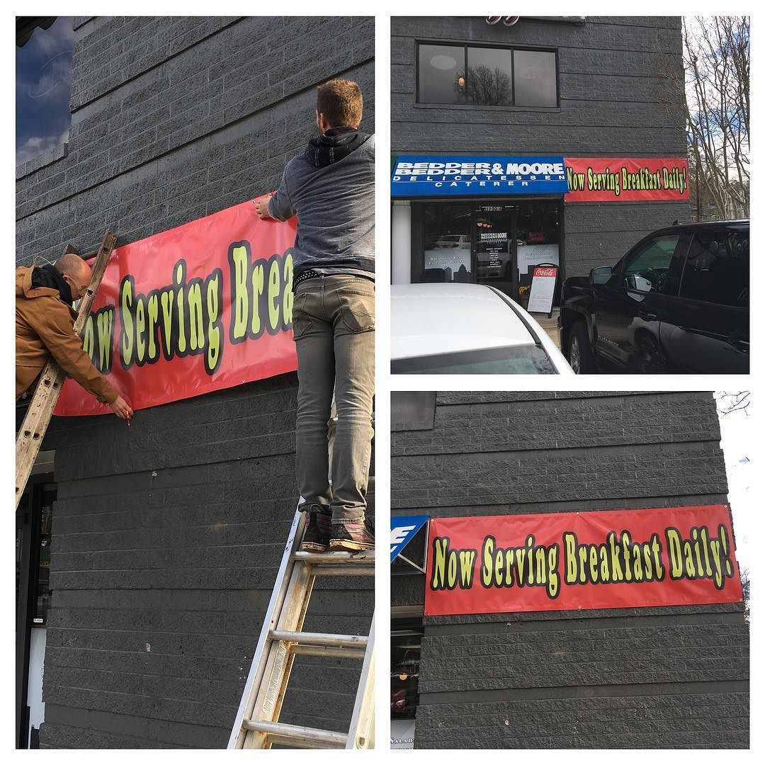 Now Serving Breakfast @bedderbedderabbey 7-10AM daily. Go check them out. Super Delicious. #banners #printing #printshop #cltstickers #nc #clt #carolinastickers