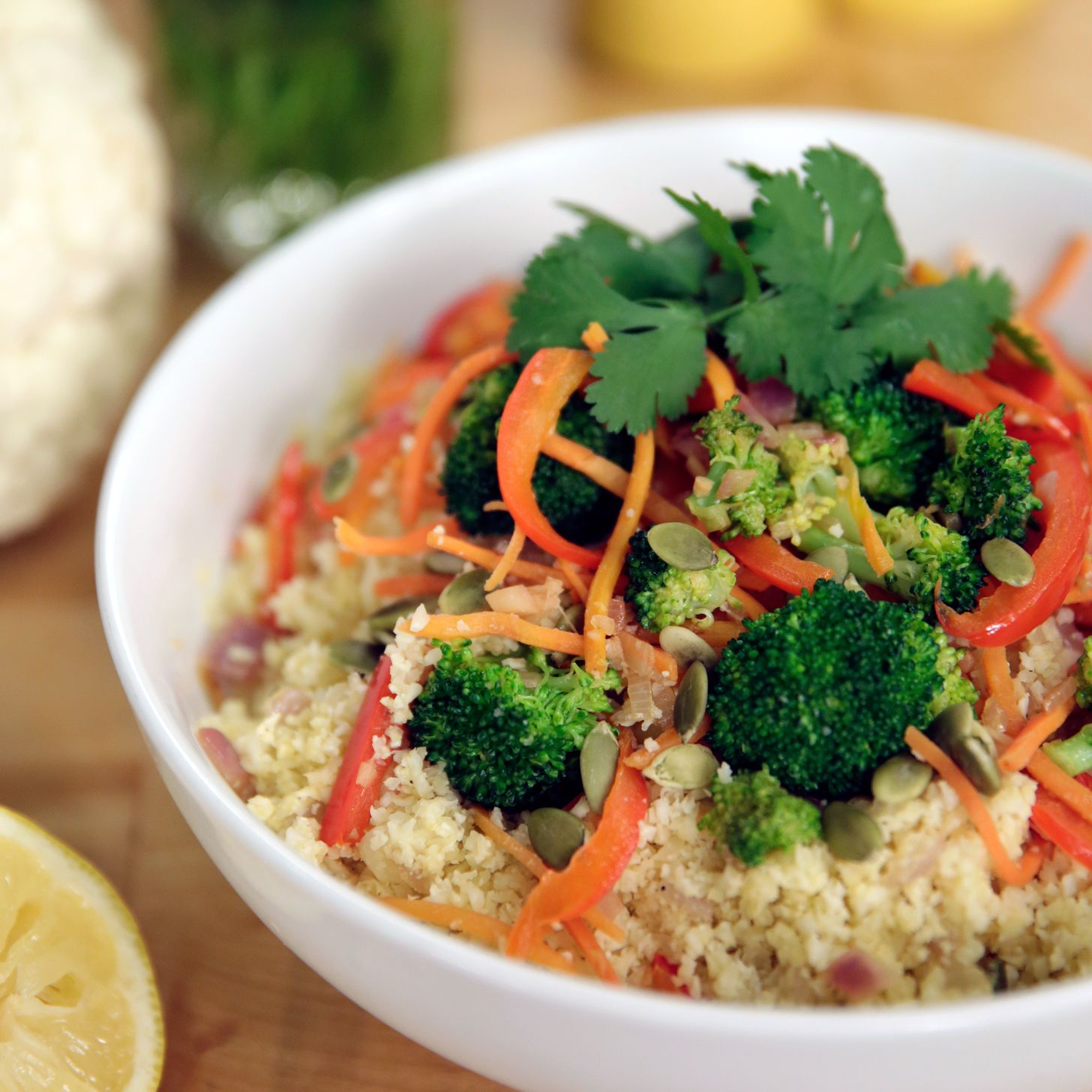 This cauliflower rice stir-fry is Paleo-friendly and lower in carbs than traditional stir-fry. Best of all, it tastes amazing!