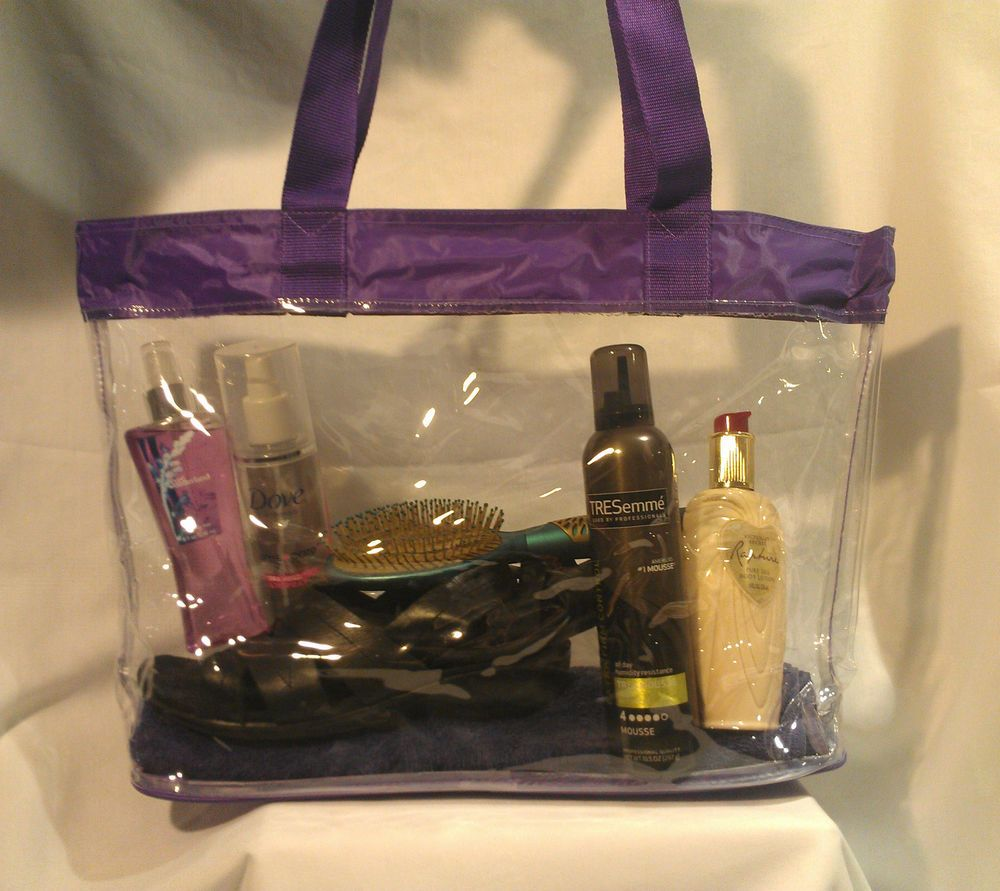Clear Vinyl Purple Trim Jelly Consultant Beach Shopping Tote Bag ...