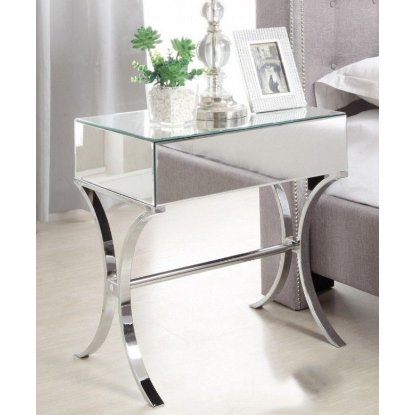BARCELONA Mirrored Bedside Table with Chrome Stand Single Drawer