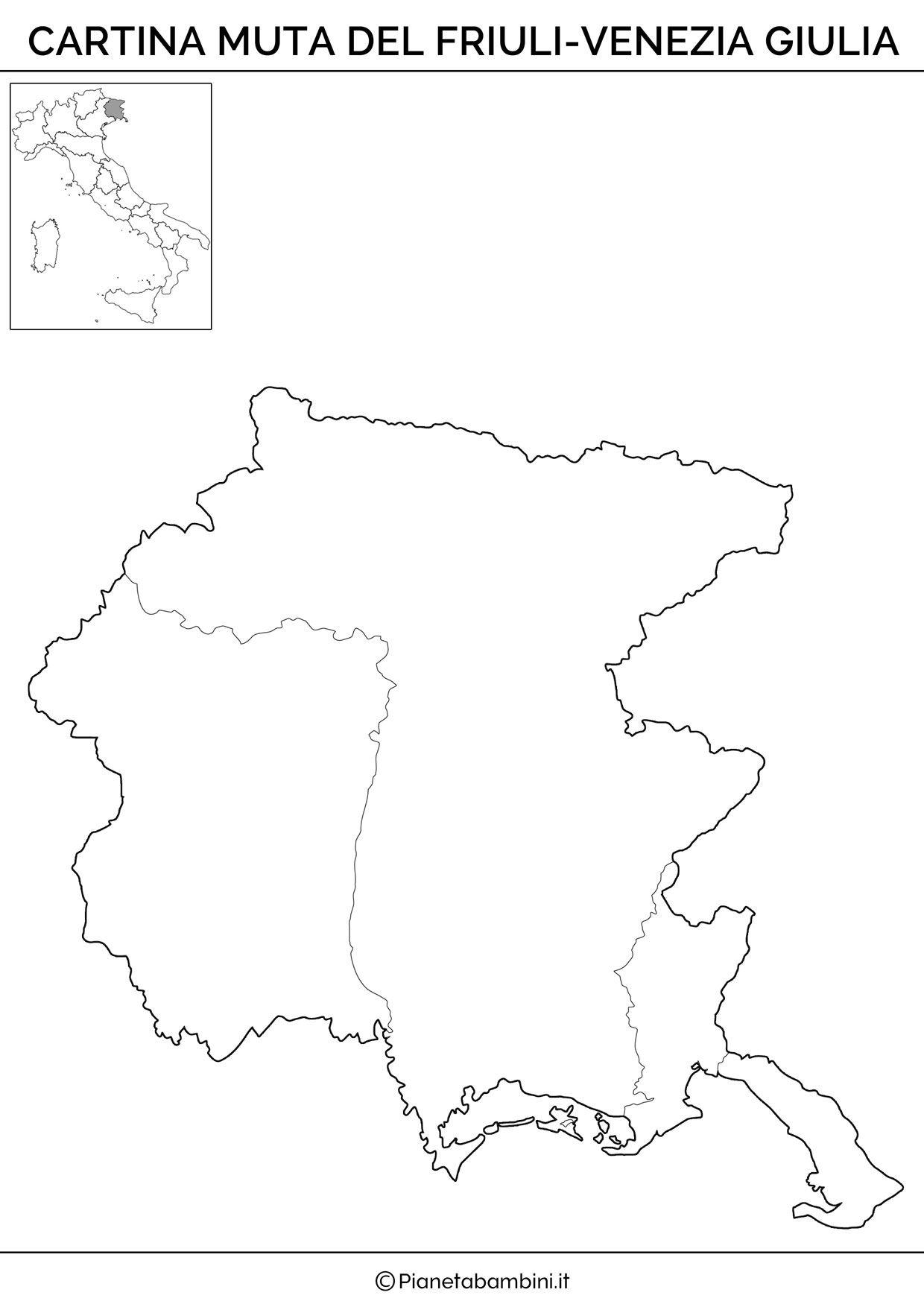 Cartina Muta Regioni Italia.Cartina Muta Fisica E Politica Del Friuli Venezia Giulia Da