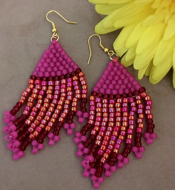 Pink and Red Fringe Earrings  Seed bead Earrings by DPTeeCreations