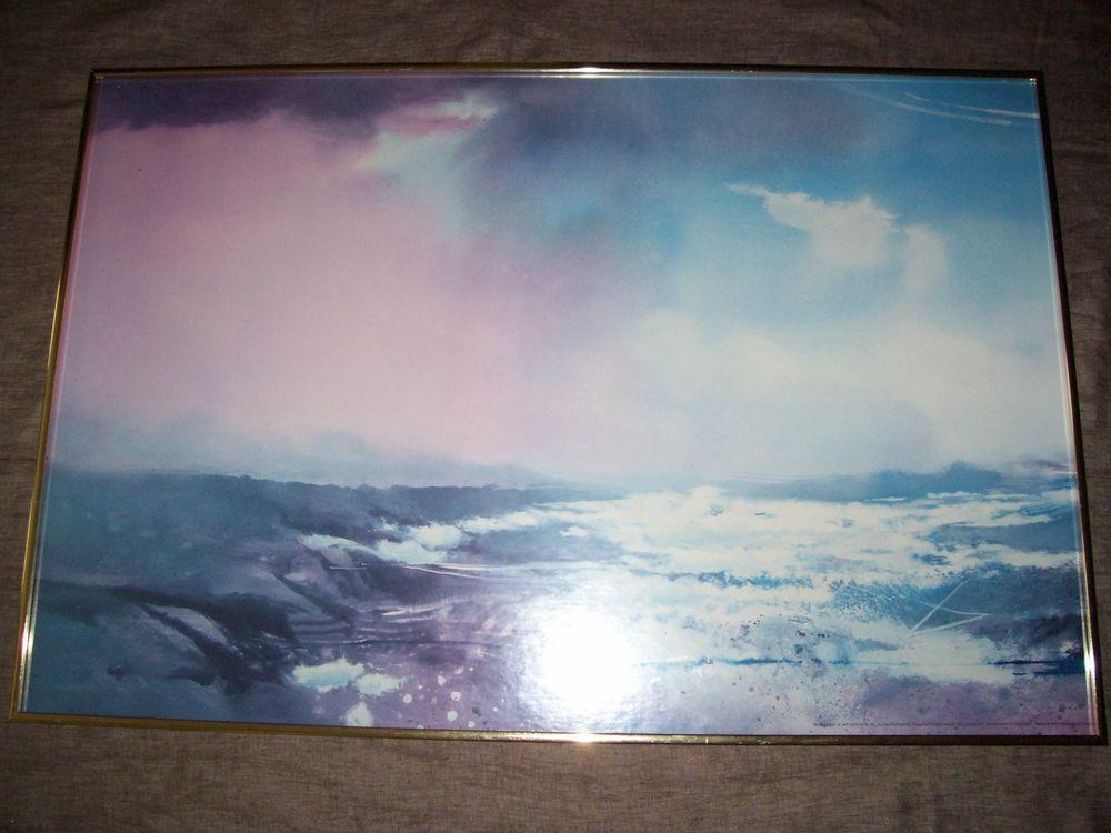 Framed 1987 John Maxon Print  - RIGHT O WAY -Seascape *large