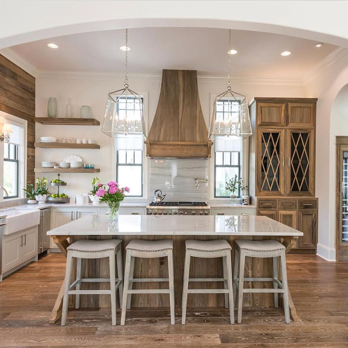 Elevated Rustic For A More Glamorous Farmhouse Appeal Modern Farmhouse Kitchens Builder Grade Kitchen Beautiful Kitchens