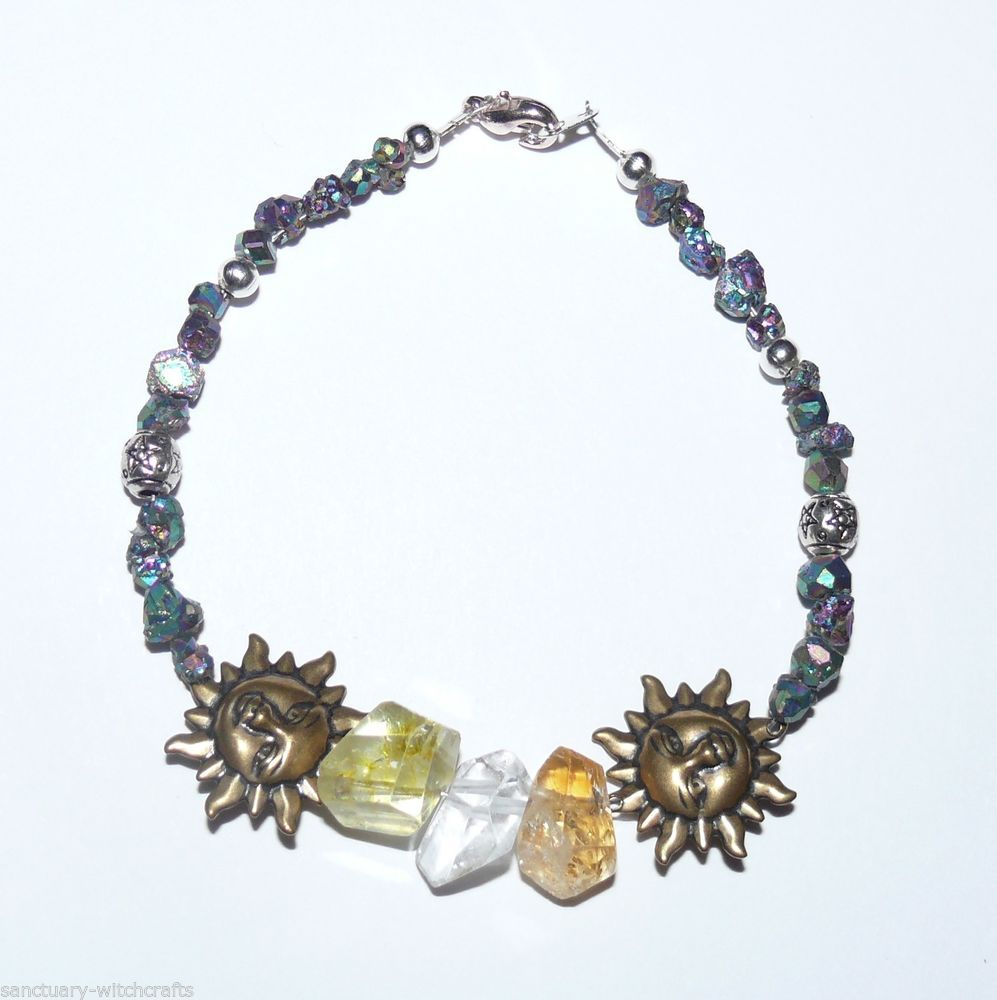 Quartz, Citrine,Titanium Druze,Pentagram Beads & Sun Faces Bracelet.Pagan/Boho