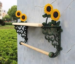 Country Sunflower Wrought Iron Towel Rack With Shelf Bath Accessories Holder