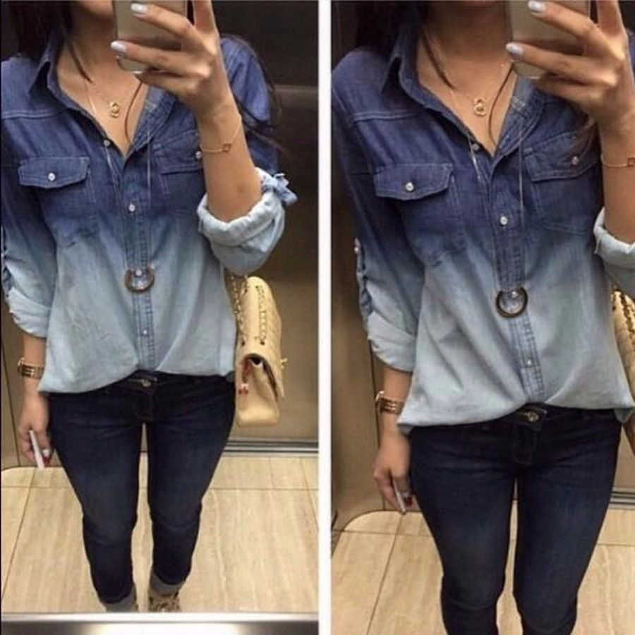7c022c80c3 camisa jeans manga longa feminina tie dye