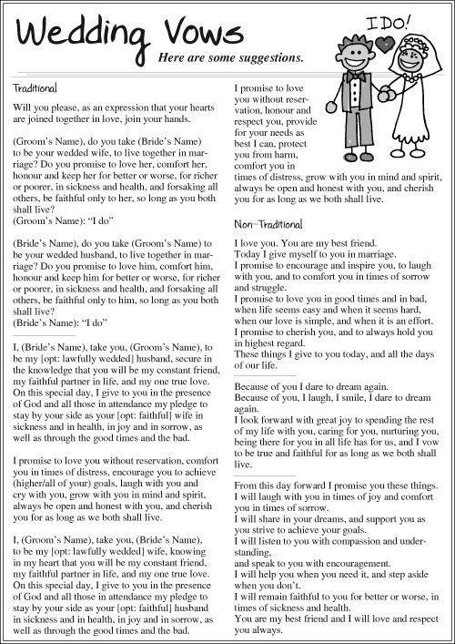 Marriage Wedding Vows Traditional Ideas Weddingideas