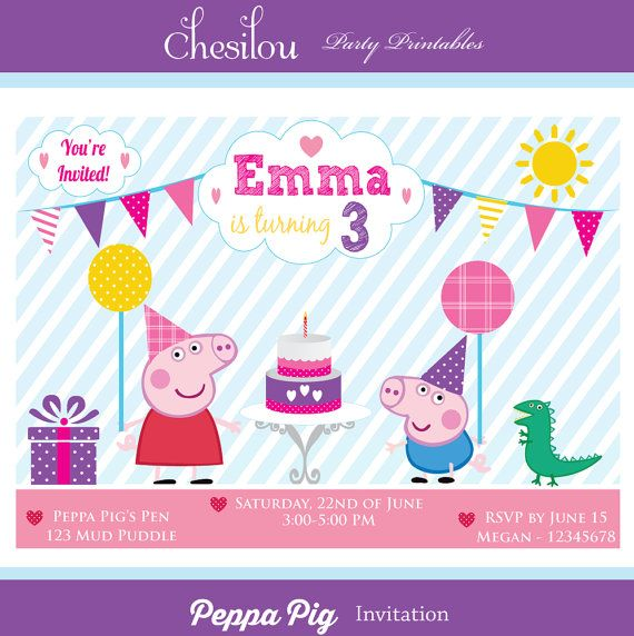 Customized Peppa Pig Digital Printable Birthday Invitation