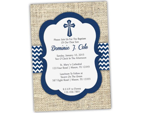 Navy Baptism Invitation Boy Baby Boy Blue Christening Invitations
