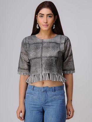 ea9d18a14e6eb Ivory-Black Block-printed Cotton Crop Top Cotton Crop Top