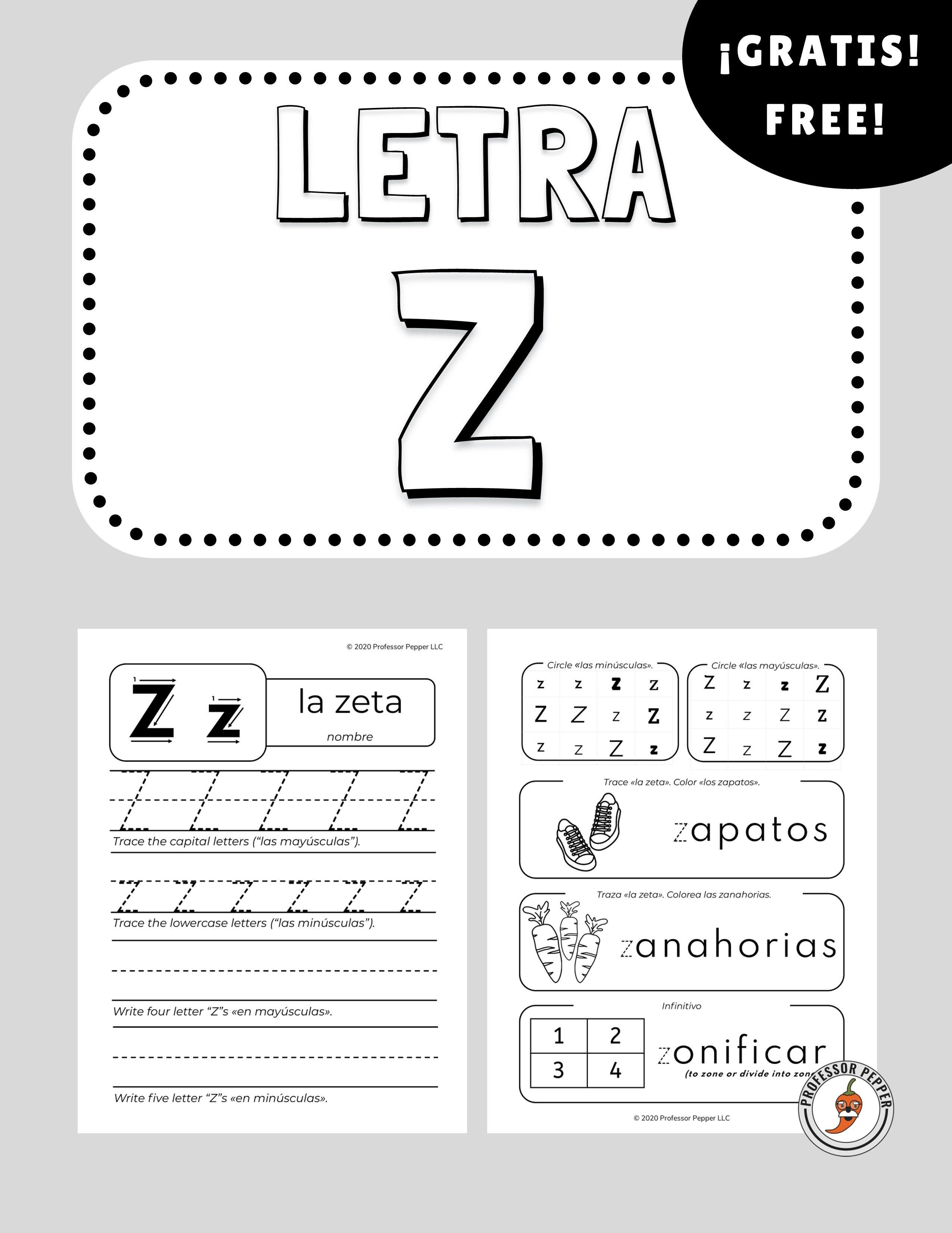 Freebie Free Spanish Letter Z Worksheet Letra Z La Zeta Spanish Worksheets Worksheets Letter Z [ 3300 x 2550 Pixel ]