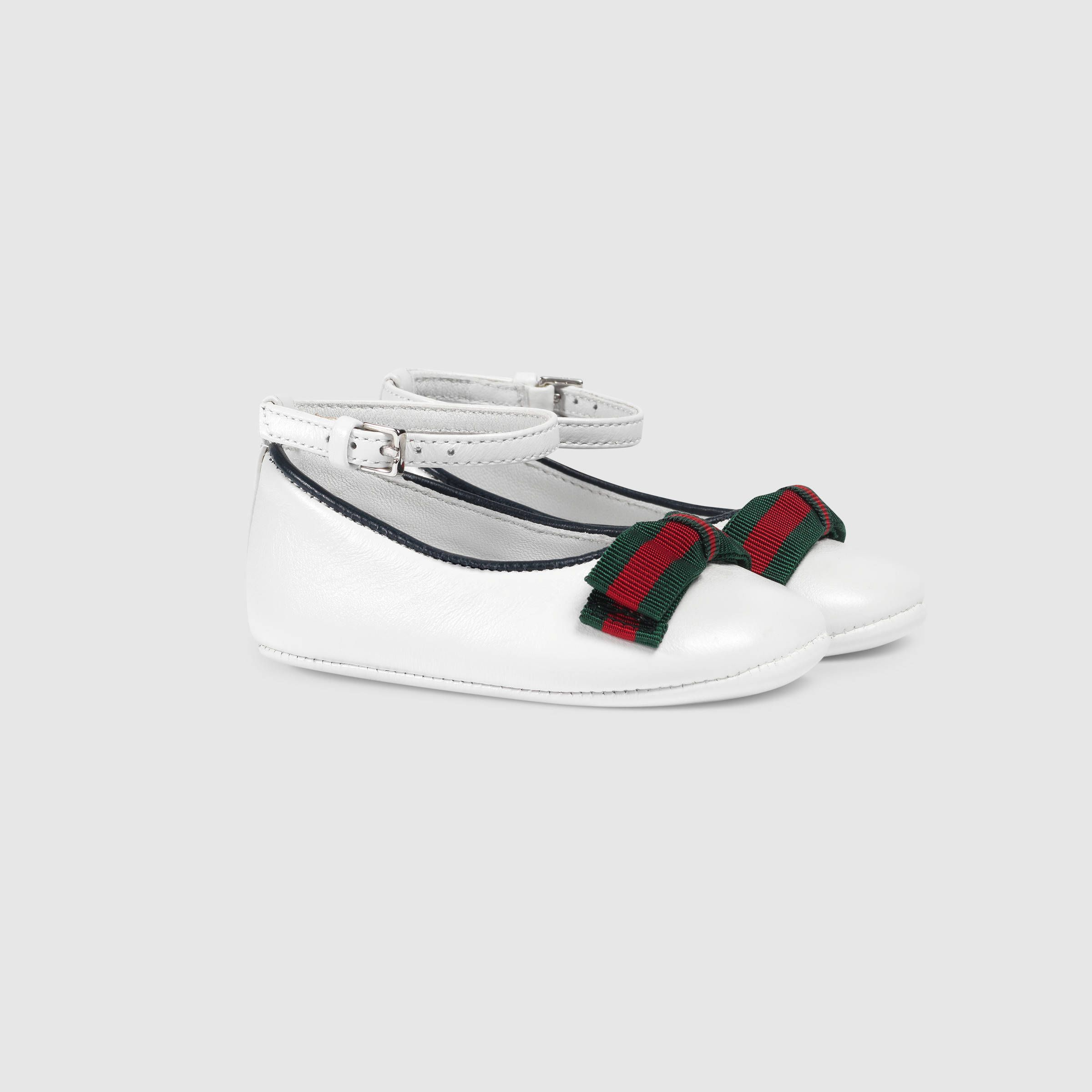 4610c3d3f Baby leather ballet flat with Web - Gucci Girls 455358BKPP09086 ...