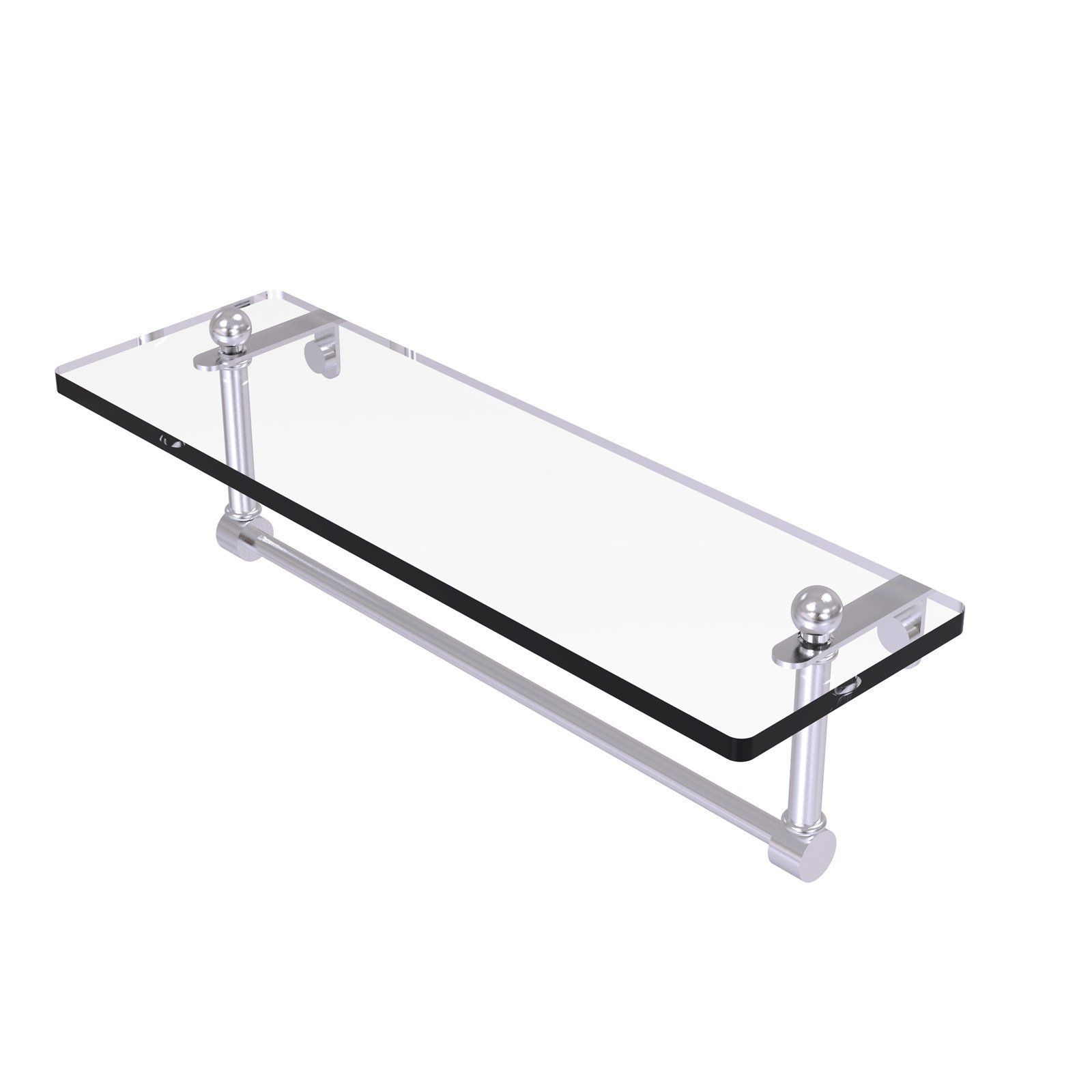 Allied brass glass vanity shelf with integrated towel bar pr