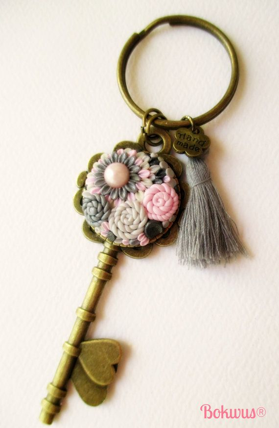 Ligth pink grey and black Polymer Clay Key Keyring by Bokwus, €8.00