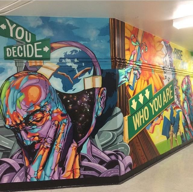 High School Murals 1m En 2019 Murales Escolares Murales Y Pinturas