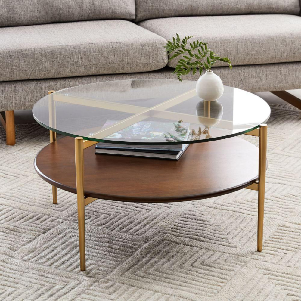 Mid Century Art Display Round Coffee Table Display Coffee Table West Elm Coffee Table Round Walnut Coffee Table [ 1000 x 1000 Pixel ]