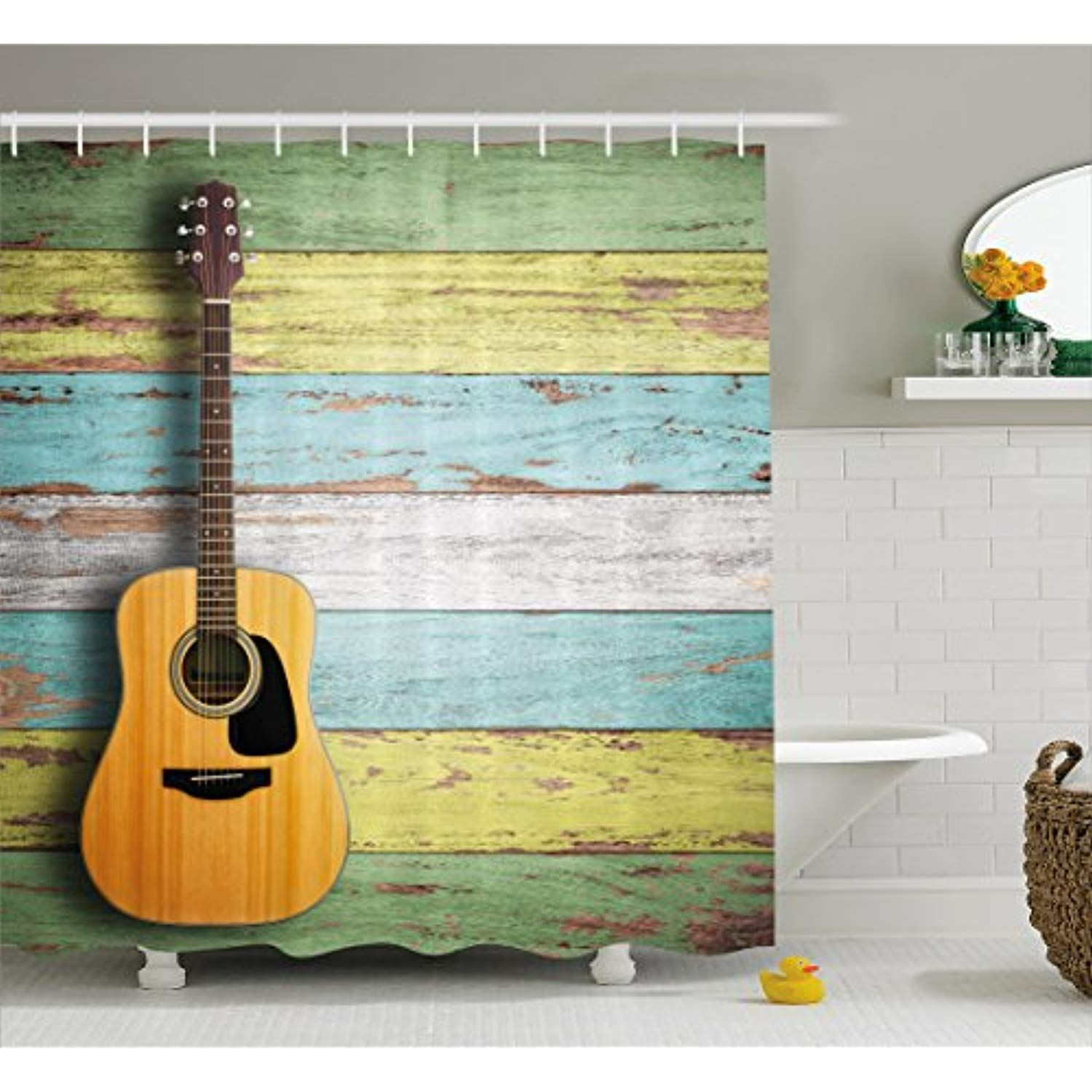 Ambesonne Music Decor Shower Curtain Acoustic Guitar On Colorful