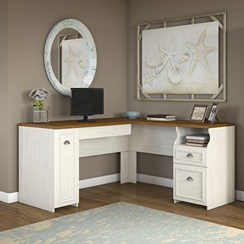 Fairview L Shaped Desk in Antique White Office Furniture