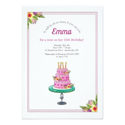Birthday cake with candles invitation birthday cake with candles invitation birthday cards invitations party diy personalize customize celebration stopboris Gallery