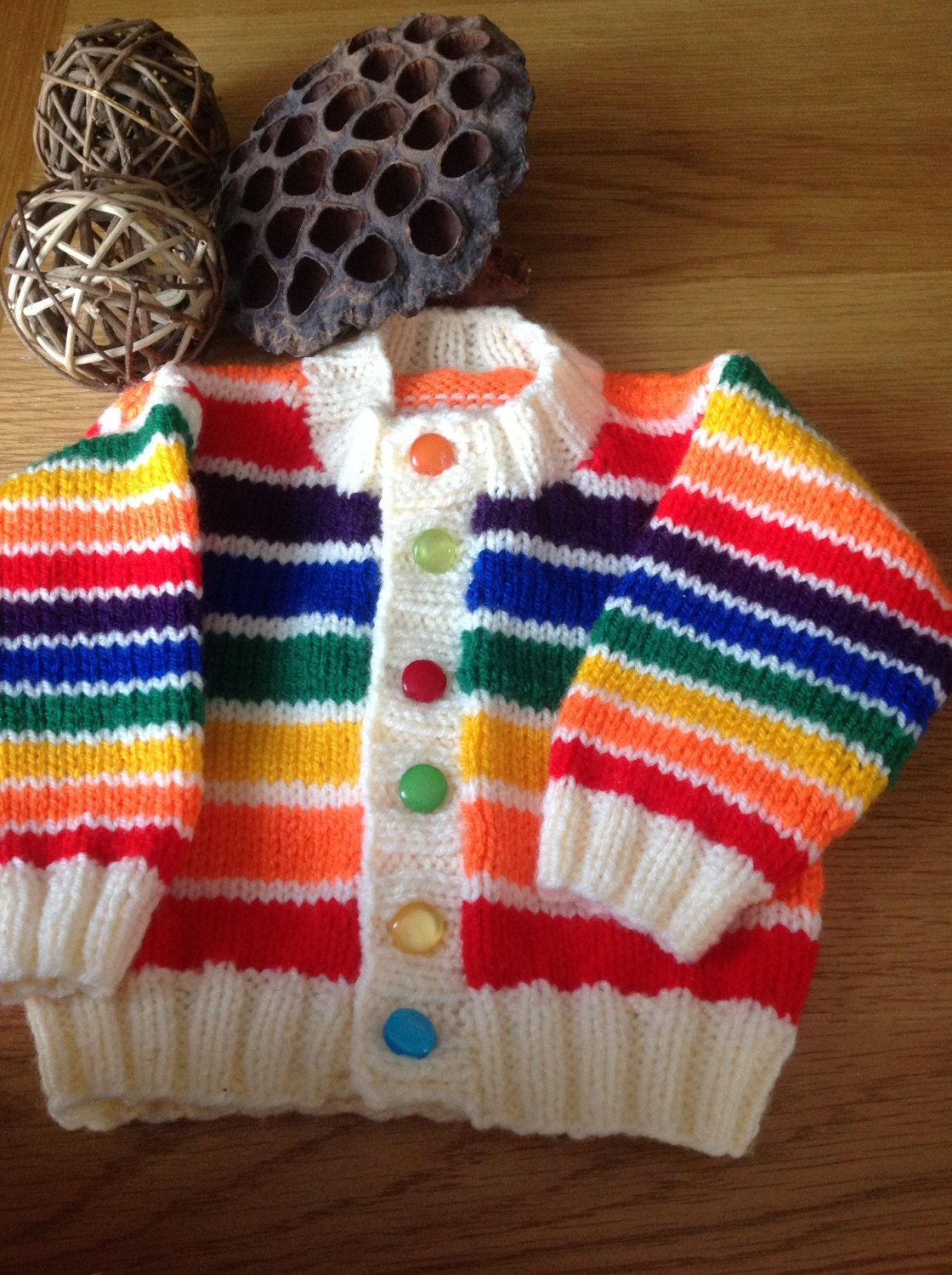 Hand knitted Rainbow Striped Babies Cardigan First size 0-3 months ...