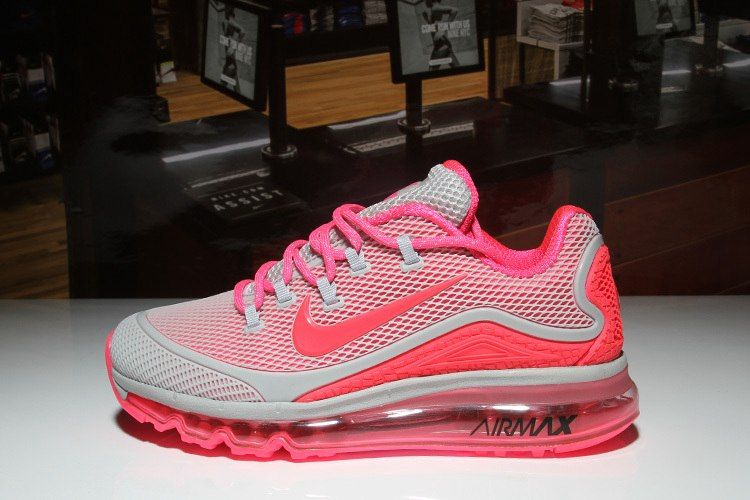 d57bab56180e04 Nike Air Max 2018 New Run Shoes Gray Pink For Women