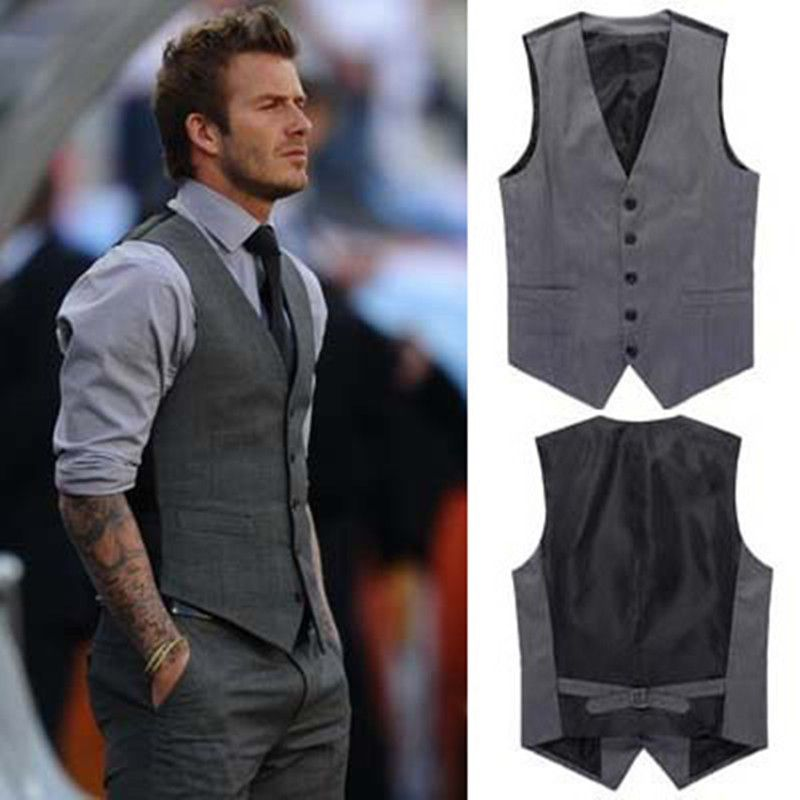 New Mens Slim Fit Casual Formal Dress Vest Suits Tops Gray Grey M XXL W59