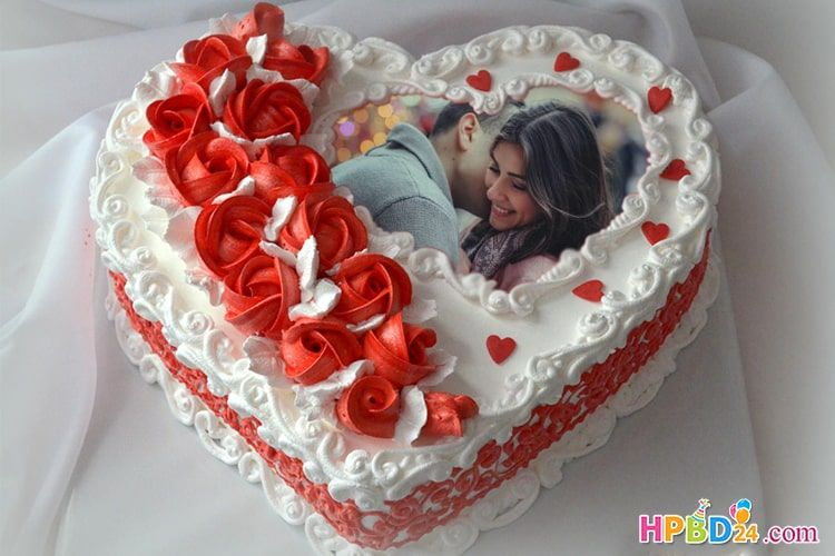 Romantic Love Heart Birthday Cake With Photo Frame With Images