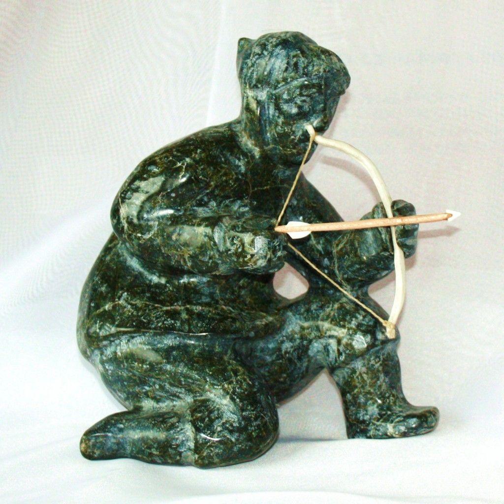 """Man"" Sculpture 14″h X 8″w By Artist Simeonie Aqpik, Lake"