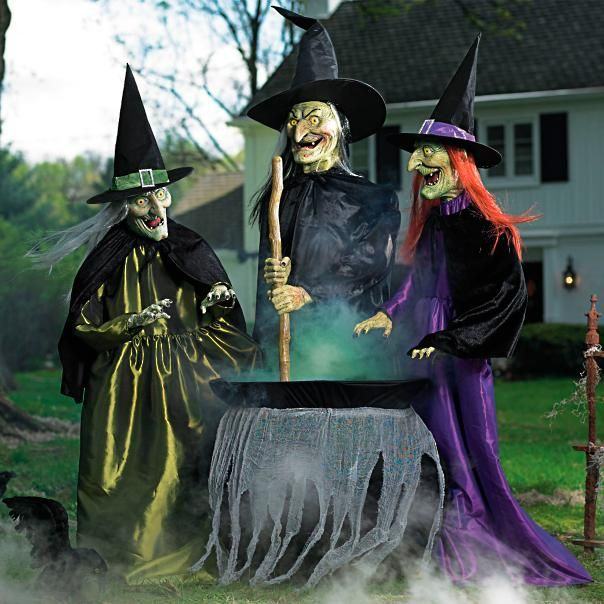 When trick-or-treaters trespass, our Animated Brewing Witch Trio - animated halloween decorations