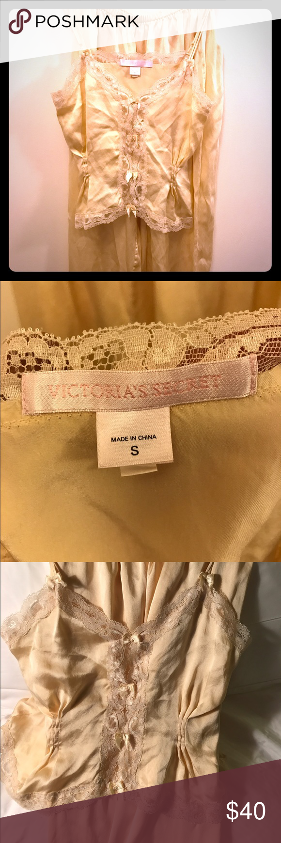 Victoria's Secret 100% Silk Pajamas Set 2/4 Pure luxury! Romantic pale yellow silk Victoria's Secret PJs set with camisole and pants. Great for Valentines Day! Size S Chest: 36 Waist: 28 Hip: 33-36 Length: 43 inches Victoria's Secret Intimates & Sleepwear Pajamas