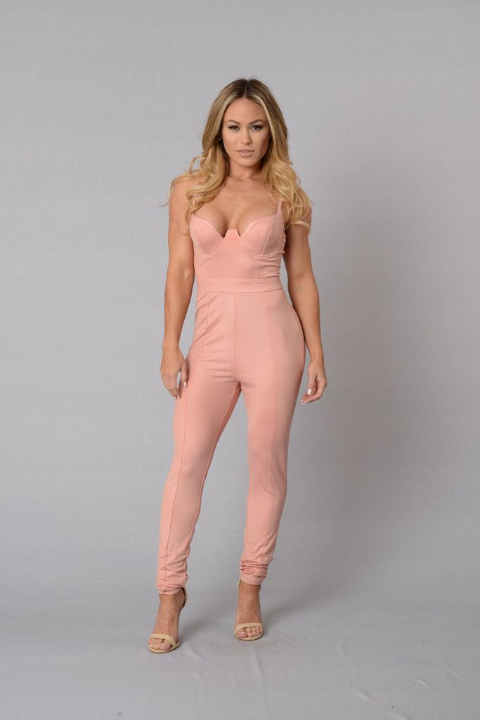 6bfc74b4d161 Available in Black and Blush - Adjustable Spaghetti Strap - Faux Leather -  Padded Neckline - Skinny Leg - Zipper Closure - 95% Polyester 5% Spandex -  100% ...